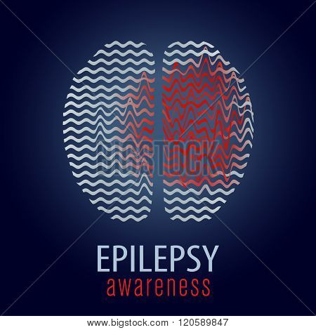 Human brain with epilepsy activity, vector illustration