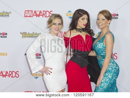 LAS VEGAS - JAN 23 : Adult film actresses Sasha Heart Nikki Knightley and Britney Amber attend the 2016 Adult Video News Awards at the Hard Rock Hotel & Casino on January 23 2016 in Las Vegas.