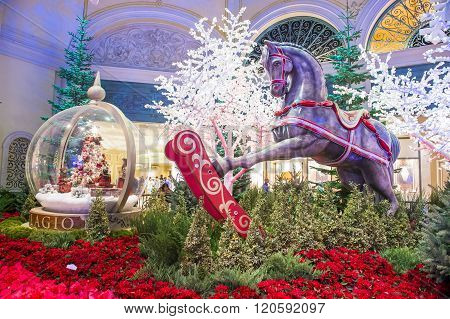 LAS VEGAS - DEC 18 : Winter season in Bellagio Hotel Conservatory & Botanical Gardens on December 18 2015 in Las Vegas. There are five seasonal themes that the Conservatory undergoes each year.