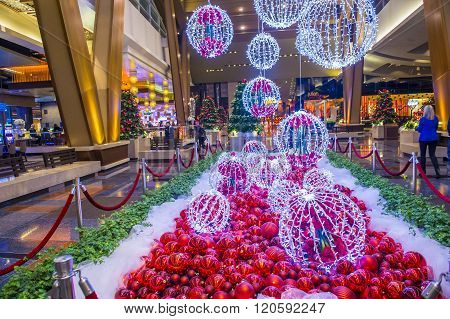 LAS VEGAS - DEC 18 : Christmas decorations at the Aria hotel in Las Vegas on December 18 2015. The Aria was opened on 2009 and is the world's largest hotel to receive LEED Gold certification