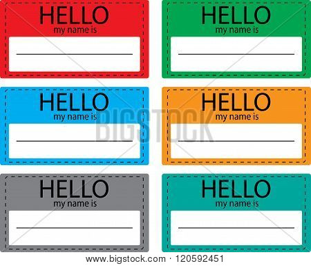 Hello My Name Is Sticker Icon Set Color