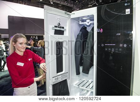 LAS VEGAS - JAN 06 : Steam Clothing Care System at the LG booth at the CES show held in Las Vegas on January 06 2016 CES is the world's leading consumer-electronics show.