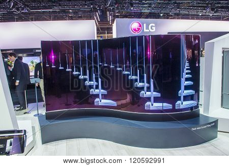 LAS VEGAS - JAN 08 : The LG booth at the CES show held in Las Vegas on January 08 2016 CES is the world's leading consumer-electronics show.