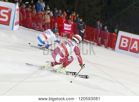 Skier Kjertil Jansrud And Competitor At A Slalom Event