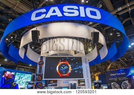 LAS VEGAS - JAN 08 : The Casio booth at the CES show held in Las Vegas on January 08 2016 CES is the world's leading consumer-electronics show.