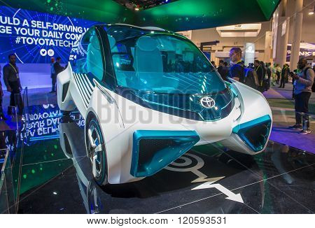 LAS VEGAS - JAN 08 : The Toyota FCV Plus Hydrogen Concept car at the CES Show in Las Vegas Navada on January 08 2016. CES is the world's leading consumer-electronics show.