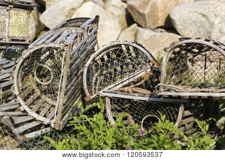 A lobster pot used in lobster fishing in Canada