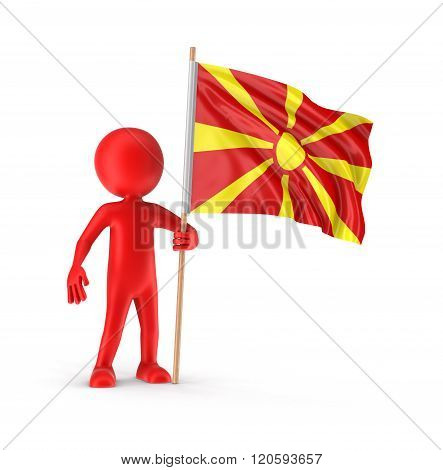 Man and Macedonian flag. Image with clipping path