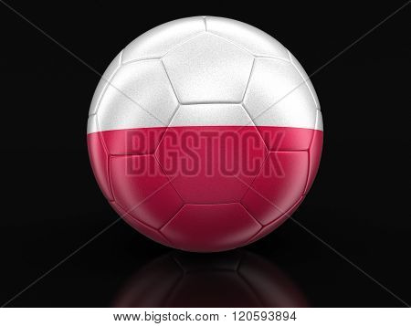 Soccer football with Polish flag. Image with clipping path