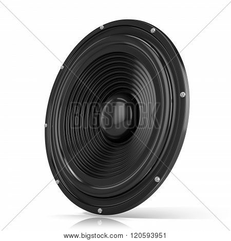 3D render illustration of loudspeaker. Isolated on white background. Side view.