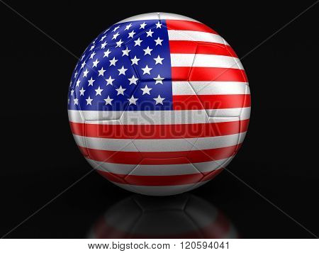 Soccer football with USA flag. Image with clipping path