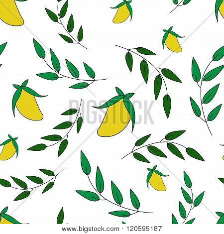 Mango And Leaves Vector Seamless Pattern