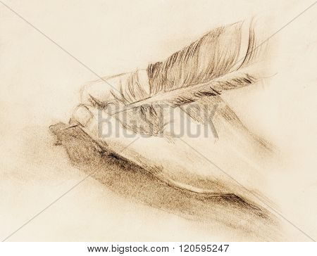 hand hold a feather quill pen on the letter and envelope, pencil sketch on paper,  vintage effect.