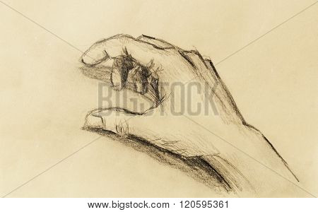 Drawing hand, pencil sketch on paper, sepia and vintage effect.
