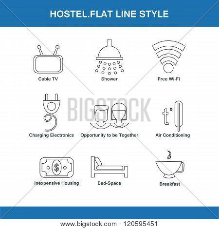 Hostel Flat Line Style