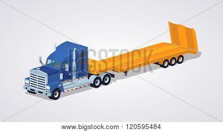 Blue heavy truck with yellow low-bed trailer