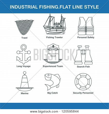Indastrial Fishing Flat Line Style