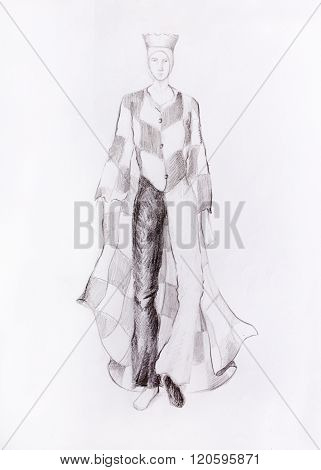 Drawing male fashion clothes with a checkerboard pattern, chess king, color pencil sketch on paper.