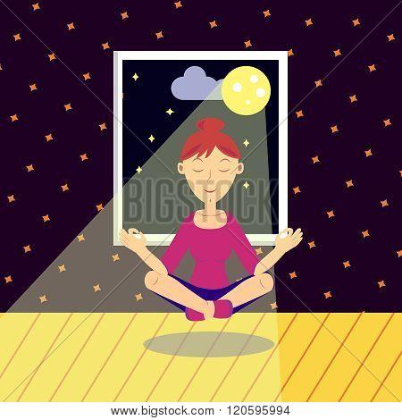 Girl Practicing Yoga. Vector illustration