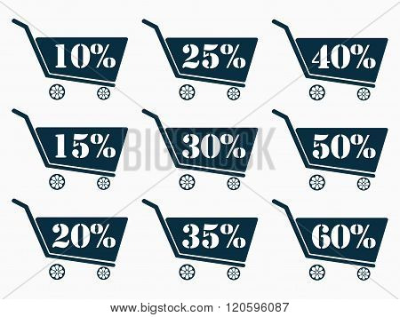 Shopping Carts With A Discount. Cart Icon. Online Shopping Icon. The Dark Blue Shopping Carts. From