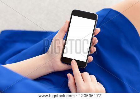 Woman In A Blue Dress Holding Phone With Isolated Screen