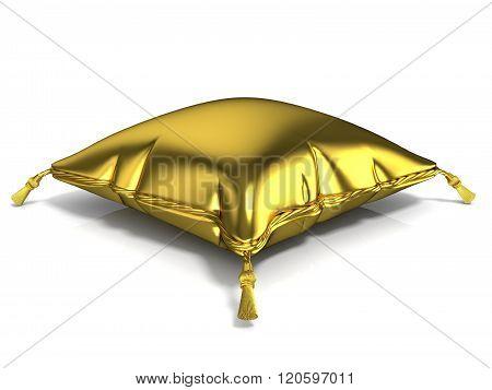 Royal golden pillow. 3D render illustration isolated on white background