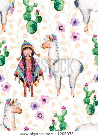 Cute American Indian girl in traditional poncho and her best friend-lama