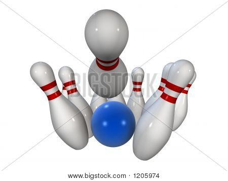 Bowling Pins With Ball