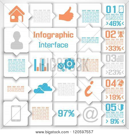 Vector Modern Business Square Background Illustration Infographic Blue Orange