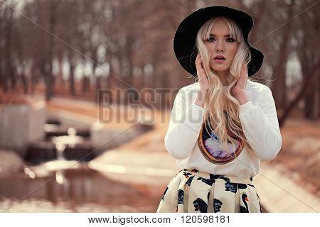 Beautiful Blonde Girl With Makeup
