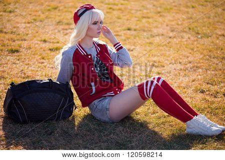 Beautiful Blonde Young Woman In Posing