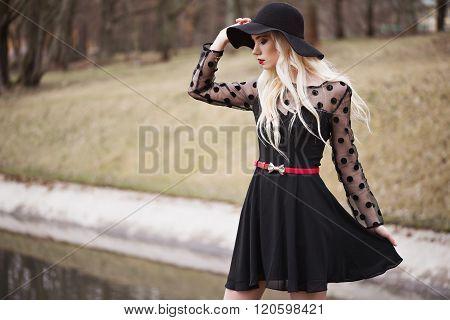 Pretty Girl In Posing Outdoors