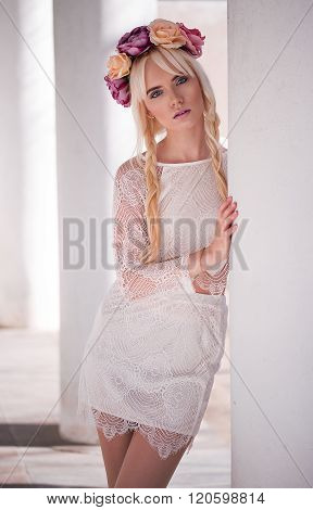 Portrait Of Beautiful Blonde Model Outdoors