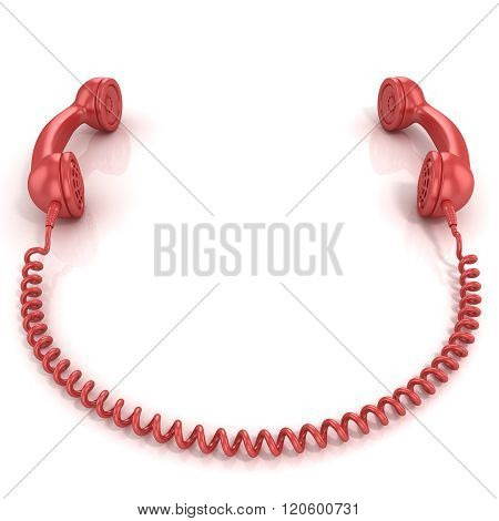 Red old fashion phone handsets connected isolated on white background