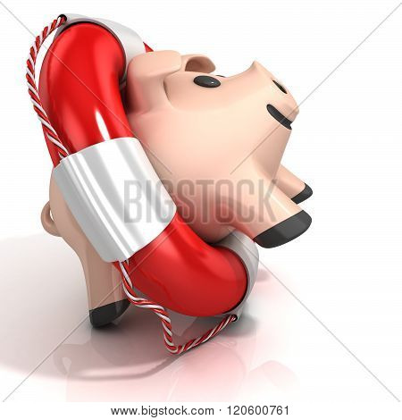 Piggy bank with lifebuoy. Isolated on white. Side view