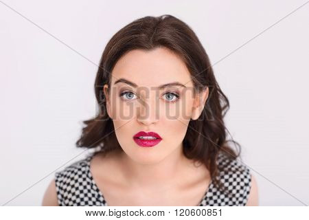 Pleasant woman looking at you