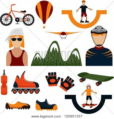 Flat Design Icons Of Extreme Sport Theme