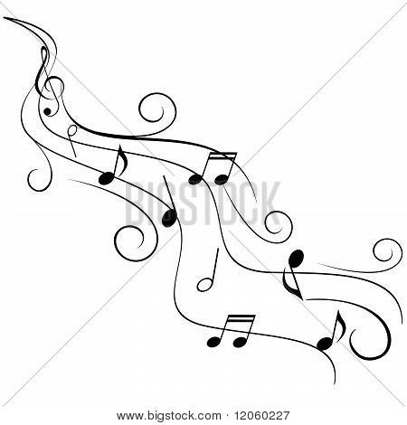 Music Notes On Swirl Stave Stock vector