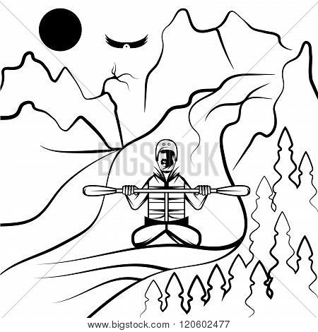 Vector Illustration Of Rafting And Kayaking . Concept Of Graphic Clipart Work