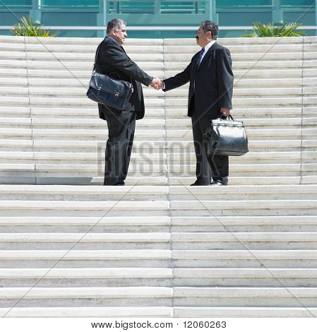 Two businessmen shaking hands on steps