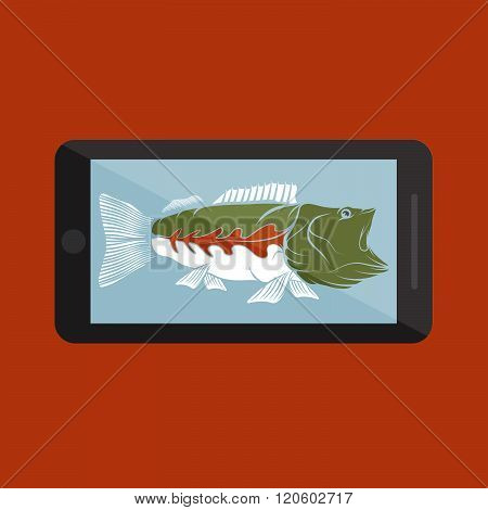 Flat Design With Big Mouth Bass . Concept Of Graphic Clipart Work