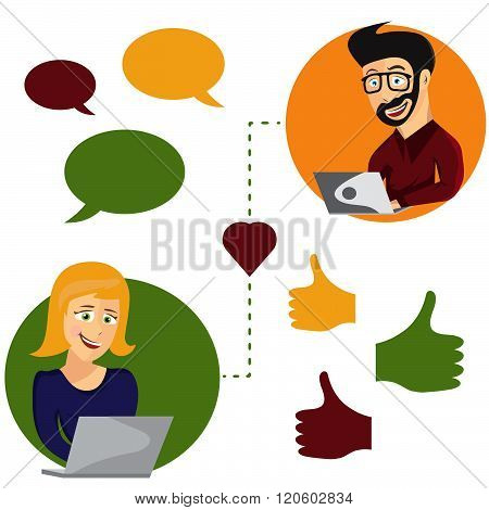 Vector Illustration Of Online Dating Man And Woman App Icons In Hipster Cartoon Style