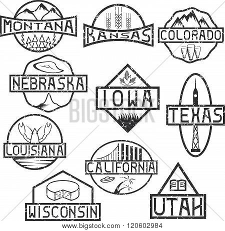 Grunge Labels Of States And Landmarks Of Usa