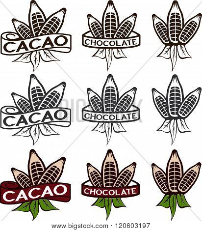 Cacao Beans With Leaves Labels Set . Concept Of Graphic Clipart Work