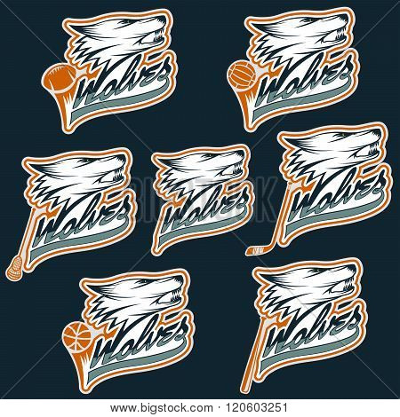 Set Of Wolf Sports Labels . Concept Of Graphic Clipart Work