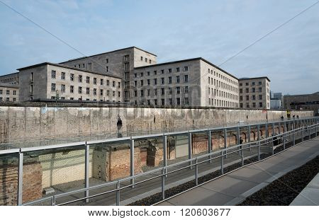 Memorial remains of the Berlin wall located at Topography of Terror museum in Berlin Germany.