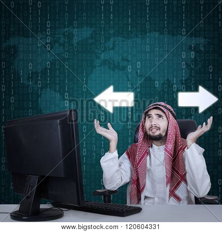 Arabian Businessman Confused