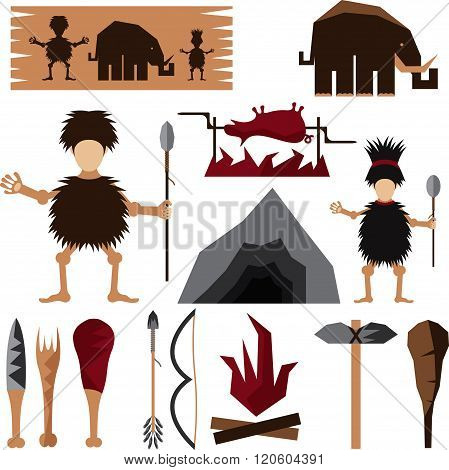 Flat Design Icons Of Paleo Food And Caveman Theme