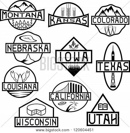 Labels Of States And Landmarks Of Usa