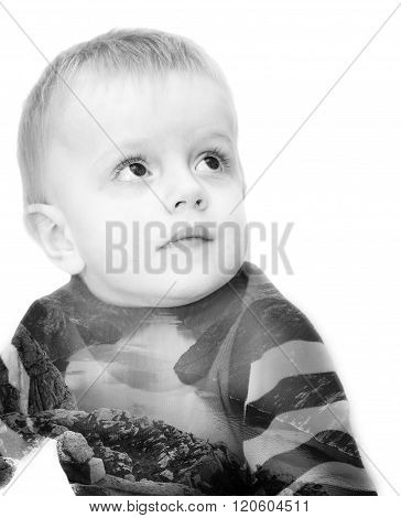 Double exposure. The boy looks up is combined with a landscape of fjords of Norway. A concept - development and a current of destiny. The black-and-white photo it is isolated on a white background